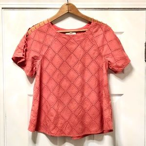 Madewell Coral Embroidered Lattice Swing Top-XS